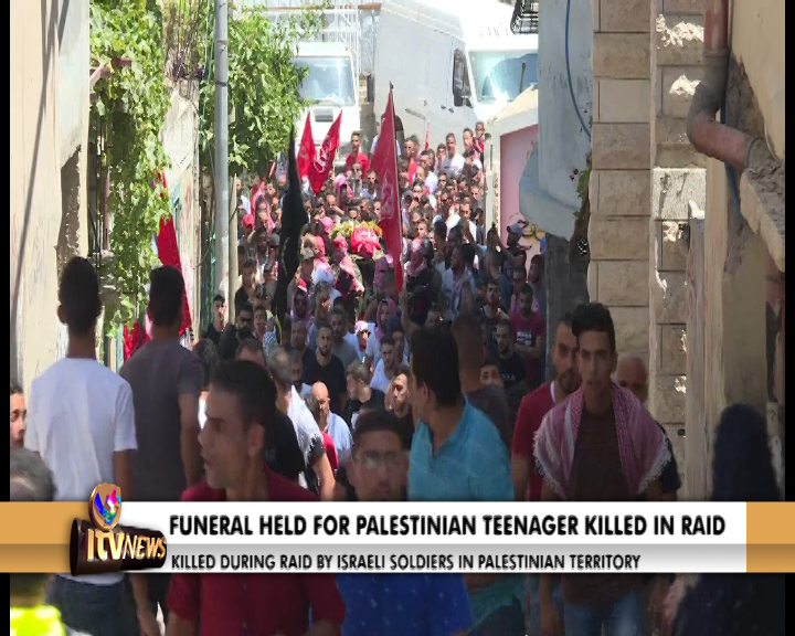 The funeral of the Palestinian teenager killed during a raid by Israeli  soldiers took place yesterday in the West Bank. Fifteen year old, Arkan  Mizher, ...